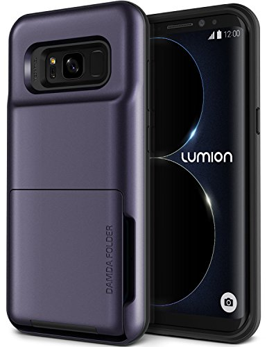 Galaxy S8 Case, [Heavy Duty Drop Protection] Hybrid Card Slot Holder Wallet Cover [Shock Absorption Cover] for Samsung Galaxy S8 by Lumion (D.Folder - Orchid Purple)