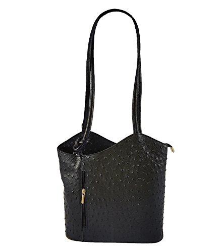 FreyFashion - Made in Italy - Bolso mochila  para mujer Strauß Schwarz