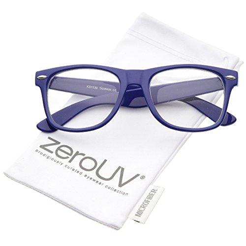 zeroUV - Retro Wide Arm Square Clear Lens Horn Rimmed Eyeglasses 54mm (Royal-Blue / - Mens Blue Eyeglasses