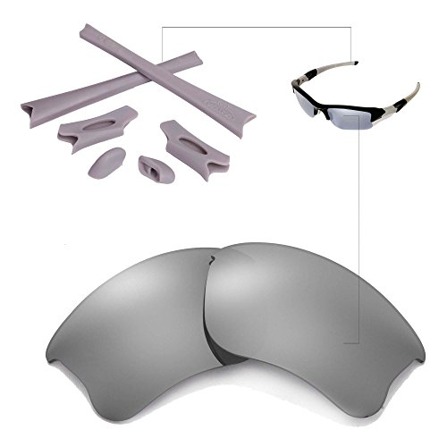 Walleva Titanium Polarized Lenses And Grey Rubber Kit For Oakley Flak Jacket - Ti Jacket