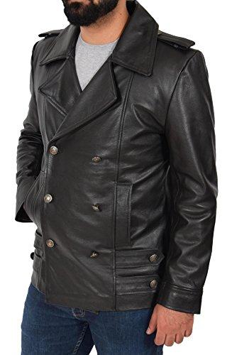 Veste Doublé Myers Style Tranchée Boutonnage Militaire Hommes Noir Caban De Cuir WD9IHE2