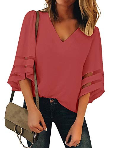 LookbookStore Women's Tea Rose V Neck Casual Mesh Panel Blouse 3/4 Bell Sleeve Solid Color Loose Top Shirt Size M(US - Shirt 3/4 Stretch Denim Sleeve