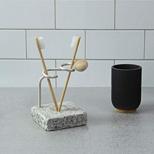Sea Stones Encircle Granite Toothbrush Holder Handmade Natural Modern Design Made In The Usa Home Kitchen