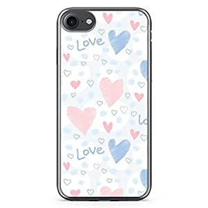 Loud Universe iPhone 7 Transparent Edge Case - Valentines Gift Soft Sugary Blue Pink Love Heart Pattern