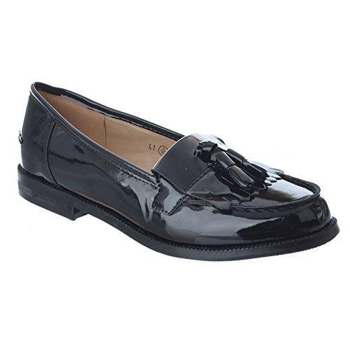 Mujer Mocasines Planos Estilo Casual CLÁSICO Trabajo Oficina Escuela Zapatos Talla 3-8 - Charol