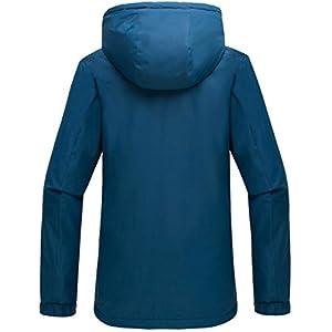 Wantdo Women's Hooded Windproof Ski Jacket Fleece Winter Coat Blue Black US Large