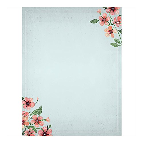 Floral Stationery (100 Stationery Writing Paper, with Cute Floral Designs Perfect for Notes or Letter Writing - Forget Me Not)