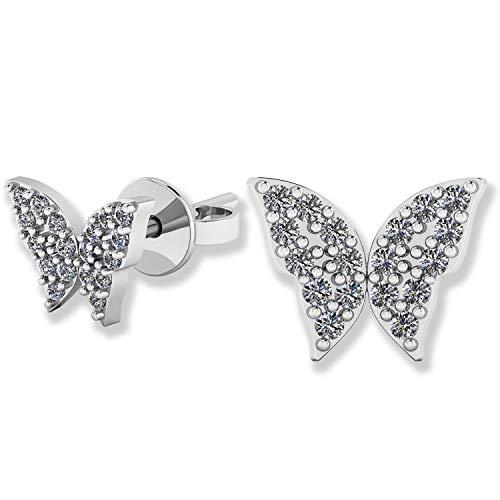 - .925 Sterling Silver & Pavé-Set Cubic Zirconia Petite Stud Earrings - Spring Butterfly