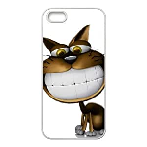 3d white teeth cat wallpaper For Iphone 5/5S Phone Case Cover White