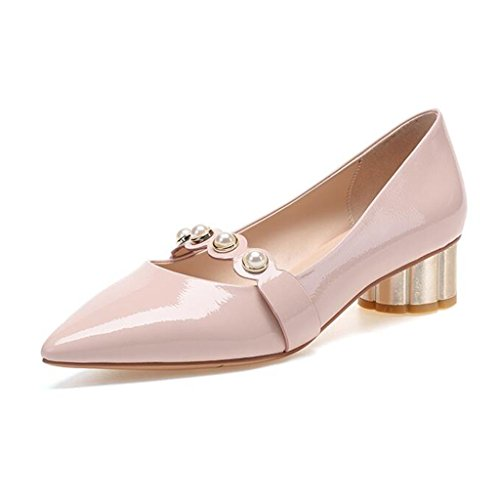 MUMA Zapatos de tacón Tacón Medio Zapatos Sueltos Charol Salvaje Tacones rugosos Zapatos de Mujer Zapatos pequeños con Punta Mostaza Amarillo Rosa (Color : Mustard Yellow, Tamaño : EU36/UK4/CN36) Pink