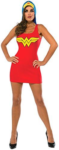 [Rubie's Costume Co Women's DC Superheroes Wonder Woman Hooded Tank Dress, Multi, Large] (Womens Tank Dress Wonder Woman Costumes)