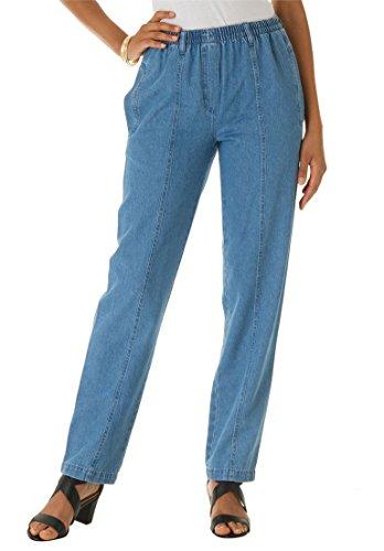 Roamans Women's Plus Size Petite Kate Elastic Waist Jeans Light