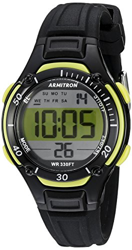 - Armitron Women's 45/7062LGN Lime Green Accented Digital Chronograph Black Resin Strap Watch