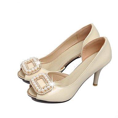 LvYuan Mujer-Tacón Stiletto-Zapatos del club-Sandalias-Oficina y Trabajo Vestido Fiesta y Noche-PU-Negro Rosa Blanco White