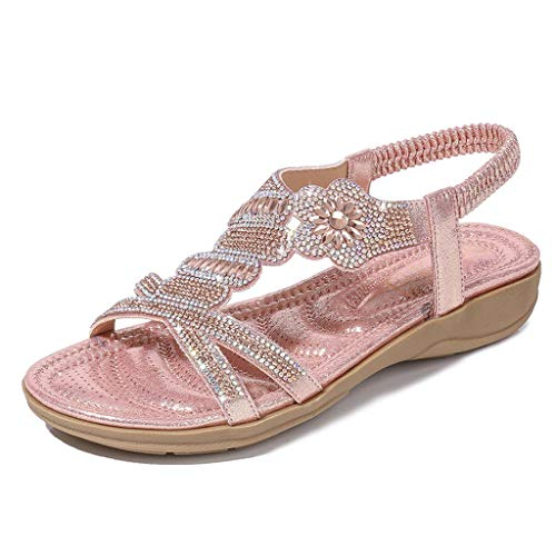 Toimothcn Bohemia Crystal Flat Sandals Women Casual Elastic Strap Peep Toe Shoes Beach Sandals (Pink3,US:5.5)