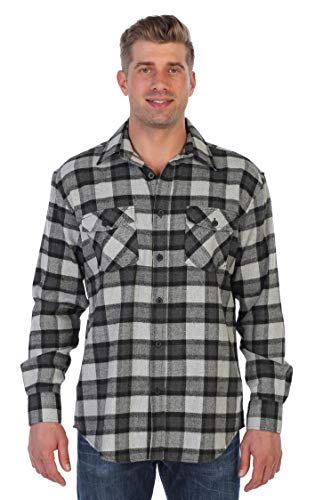 (Gioberti Men's Plaid Checkered Brushed Flannel Shirt, Black/Charcoal/Gray,)