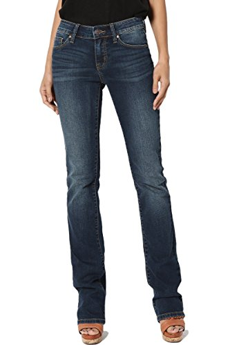 (TheMogan Women's Mid Rise Slim Fit Bootcut Jeans in Soft Dark Blue Denim Dark 1)