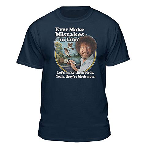 Bob Ross Make Mistakes Into Birds Official Licensed T-Shirt Navy
