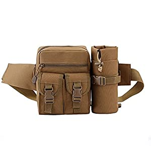 Tactical Waist Pack Pouch With Water Bottle Pocket Holder Waterproof Molle Fanny Hip Belt Bag for Hiking Running Cycling Camping Climbing Travel (Brown)