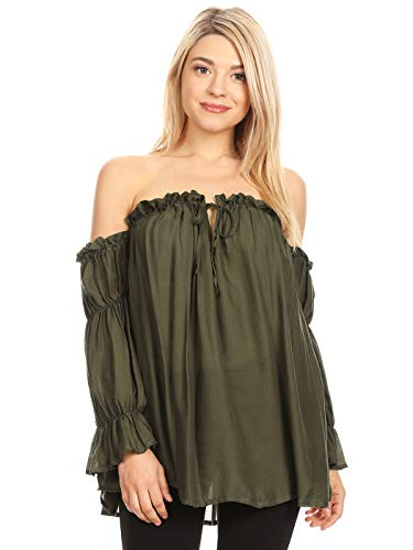 Anna-Kaci Womens Semi Sheer Boho Peasant Long Sleeve Off the Shoulder Top, Olive Green, -