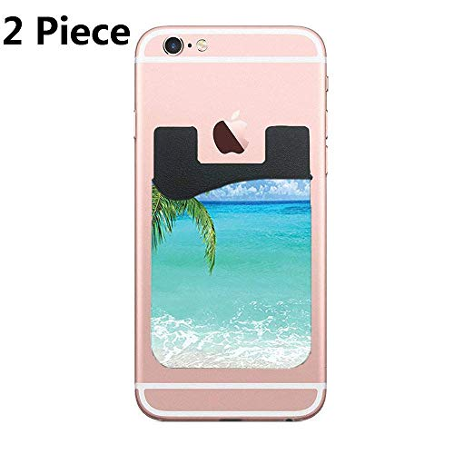 CardlyPhCardH Exotic Lebanon Beach Panoramic Sea View and Clear Sky Adhesive Silicone Cell Phone Wallet/Card Holder for iPhone, Android, Samsung Galaxy, Most Smartphones - 2 Piece