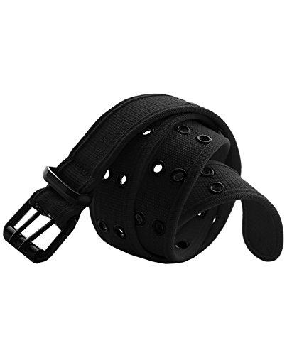 Belt Youth Standard - EURO Kid's & Youth Premium Canvas Double Hole Grommets Web Belt - BK211 - Black - Large