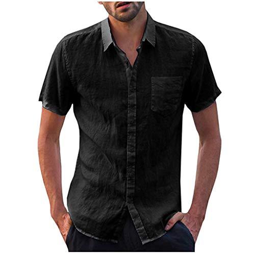iHPH7 Dress Shirt Casual Short Sleeve Regular Fit Shirt Solid Button T Shirts Tops Blouse (3XL,2- -