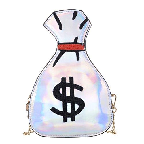 Handbags Bag Sliver Purse Shoulder Money Cross Messenger Women's Body Laser PU bag Design Hologram 01qpwR4