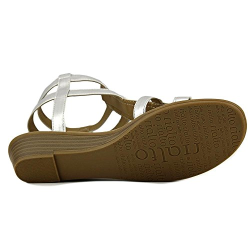Rialto Womens Gracia Open Toe Casual Strappy Sandals Silver/Smooth E1keSVz8