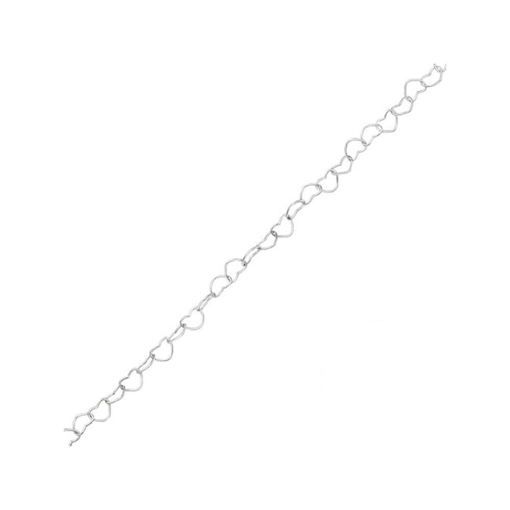Worldjewelry 925 Sterling Silver Heart Link Chain Anklet Silver Anklets
