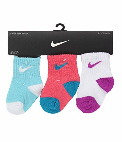 Nike Girls Infant/Toddler 6 Pack Quarter Socks (12-24 Months, 8B6-Nike-BN0032-U5L-612M) (Nike Toddler Dunk)