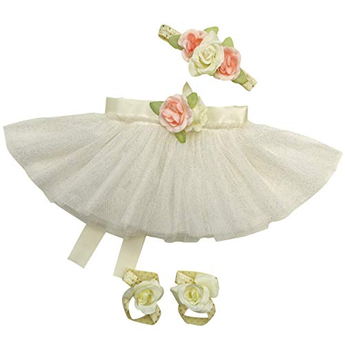 Newborn Baby Girl Tutu Set Skirt with Headband Photography Prop Outfit Clothes (Ivory) -