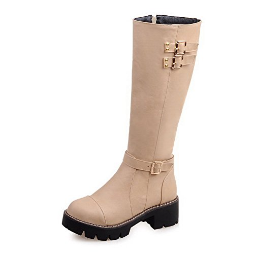 Allhqfashion Women's Kitten-Heels Soft Material High-top Solid Zipper Boots Beige