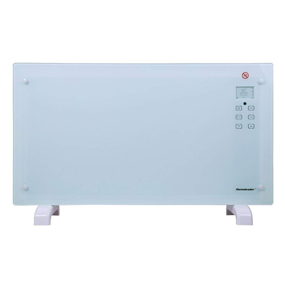 Homeleader Electric Panel Heater Crystal Glass Flat Convector Heater with 2000W High Power, LED Screen and Remote Control, GH-20F (White)