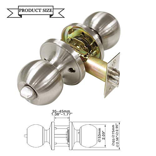 All Keyed Same Entry Door Knobs with Single Cylinder Deadbolt for Exterior Front Doors, Satin Nickel Finish, Keyed Alike for 6 Sets by Knobonly (Image #6)