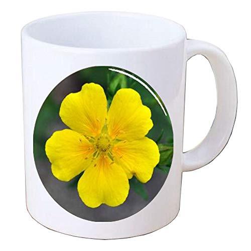 Yellow potentilla flower Handcrafted Coffee Mug Mug,Plant Lover Gift-Gardener Gift-Nature-Flower Lover,BV132