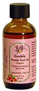Kandala Rosehip Oil, Organic, Pure and Cold-pressed, 2 oz (60ml) to Hydrate Skin, Fine Lines and Sun Spots - Excellent Rose Hand Cream, Body Oil and Hair Moisturizer