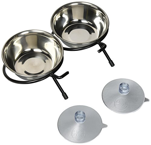 K&H Pet Products Ez Mount Up & Away Kitty Double Diner 12Oz.(2) Stainless/Black Mounts To Windows
