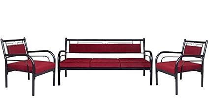 FurnitureKraft Florence Metal Sofa Set 3 1 1 with Maroon Mattress Sofa Sets