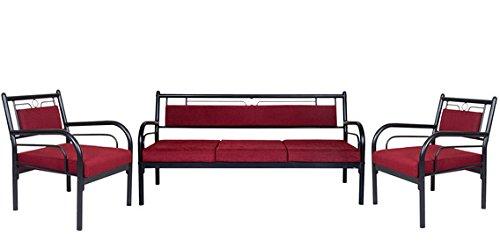 FurnitureKraft Florence Metal Sofa Set 3 1 1 with Maroon Mattress
