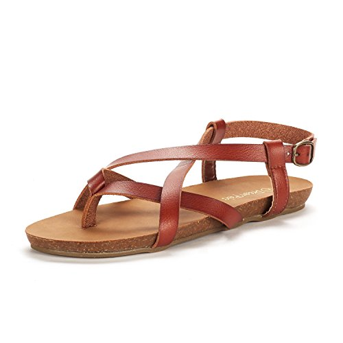 DREAM PAIRS Women's Bold_01 Brown Fashion Sling Back Flat Sandals Size 10 M US