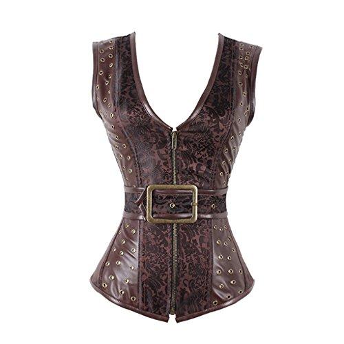 EgoLanding Women's Steampunk Vintage Brocade Brown Zipper Gothic Corset Waistcoat Vest -