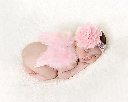 Wings Angel Pink Chiffon (Newborn Baby Feather Angel Wings, Flower Halo Set)