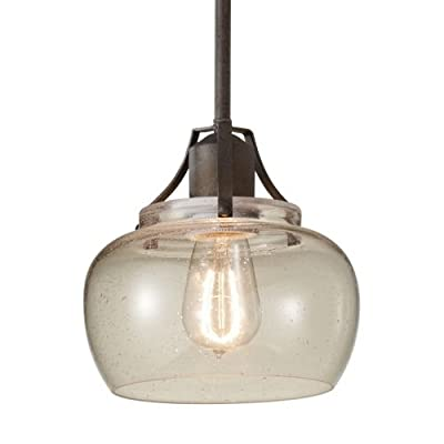 Feiss P1234 Urban Renewal Single Light Mini Pendant with Seedy Glass Shade,