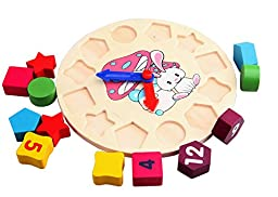Vidatoy Rabbit Alarm Clock Puzzle Shape Matching Play Toy For Kids