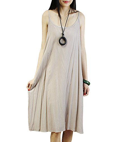 YESNO JEL Women Casual Loose Slip T-Shirt Dresses Beach Cover up Plain Dress A Skirt Hemline (L, JEL Gray)