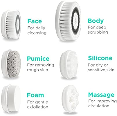 Fancii 7 in 1 Waterproof Electric Facial & Body Cleansing Brush Exfoliating Kit with Handle and 6 Brush Heads - Best Advanced Spin Brush Microdermabrasion Scrub System for Face