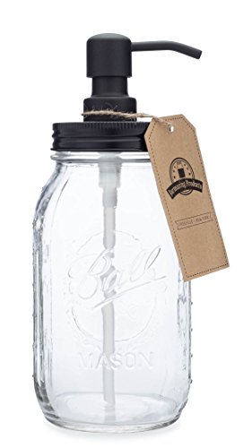 Jarmazing Products Quart Size Mason Jar Soap and Lotion Dispenser - Black Made from Rust-Proof Stainless Steel ()