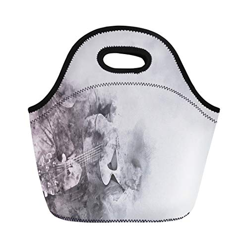 Neoprene Digital Armband - Semtomn Lunch Bags Authentic Playing Guitar on Watercolor Digital Painting Arms Band Neoprene Lunch Bag Lunchbox Tote Bag Portable Picnic Bag Cooler Bag