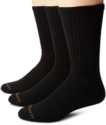 Carhartt Mens 3 Pack Work Wear Cushioned Crew Socks,  Black, Shoe: 6-12